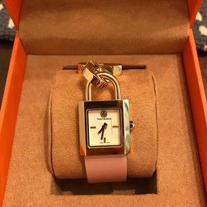 Tory Burch pink lock watch